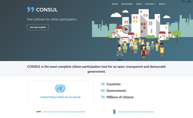 Figure 4 - Screenshot of CONSUL's promotional website. Retrieved August 21, 2018, from http://consulproject.org/. Screenshot by author.